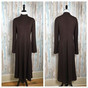 St John 6 Brown Turtleneck Sweater Dress Midi Maxi